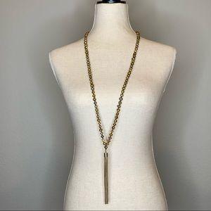WHBM Stone Chain Tassel Necklace